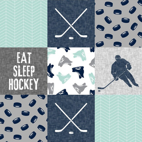 Eat Sleep Hockey - Ice Hockey Patchwork - Hockey Nursery - Wholecloth dark mint and navy - LAD19
