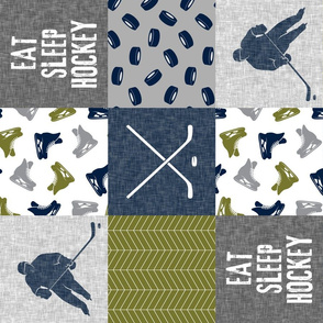 Eat Sleep Hockey - Ice Hockey Patchwork - Hockey Nursery - Wholecloth grey and green - LAD19 (90)