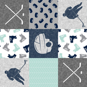 Ice Hockey Patchwork - Hockey Nursery - Wholecloth dark mint and navy - LAD19 (90)