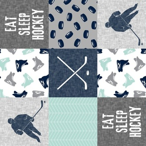Eat Sleep Hockey - Ice Hockey Patchwork - Hockey Nursery - Wholecloth dark mint and navy - LAD19 (90)