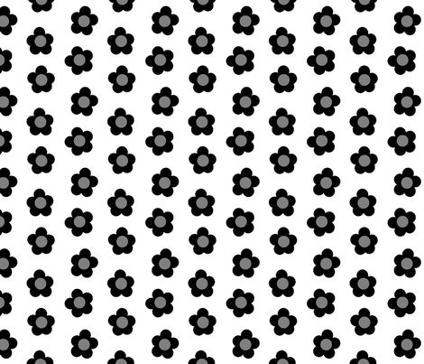 Dotty Blooms Greyscale 1:1 fabric by playscalefabric on Spoonflower - custom fabric