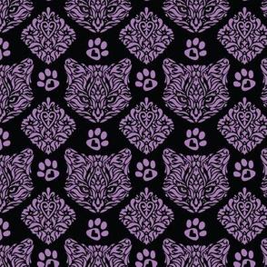 Purple Cat Damask