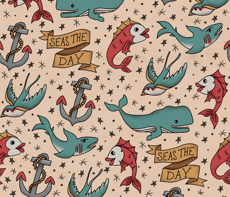 Seas the Day Tattoo Pattern fabric by latheandquill on Spoonflower - custom fabric