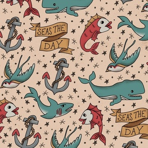 Seas the Day Tattoo Pattern