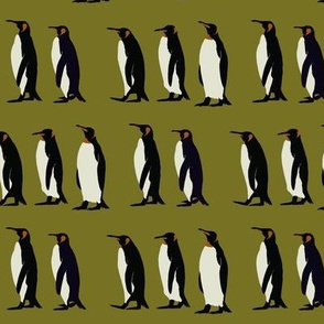 Penguin march on olive green (small)