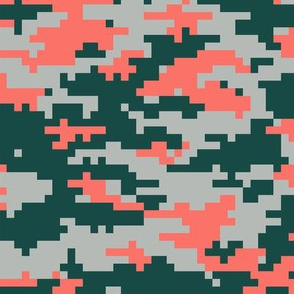 Pixel Camo in Living Coral, dark green, pale green