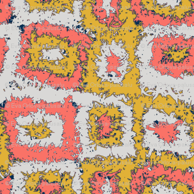 Limited Color Palette Coral Mustard Gray Plaid