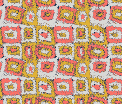 Limited Color Palette Coral Mustard Gray Plaid fabric by palusalu on Spoonflower - custom fabric