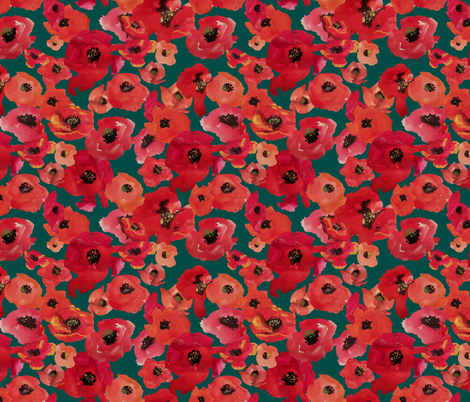 RED POPPIES CAMO fabric by wxstudio on Spoonflower - custom fabric