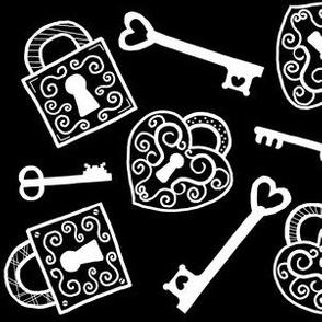 Open Treasures / Lock & Keys  black & white