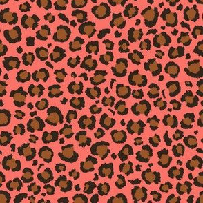 Coral Pink and Brown Leopard Spots Print