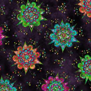 Flower Mandala Pattern deep aubergine