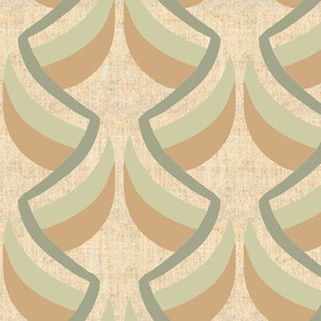 Art Deco Stylized Green and Brown Leaves on Green Vine on Beige Linen Look