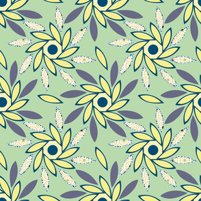 Sun Flowers Octagons sm pastel lime