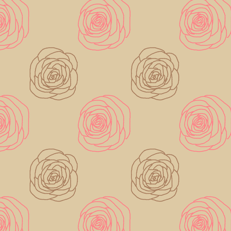 Mod Chalkline Rose   Vintage Vacation fabric by lochnestfarm on Spoonflower - custom fabric
