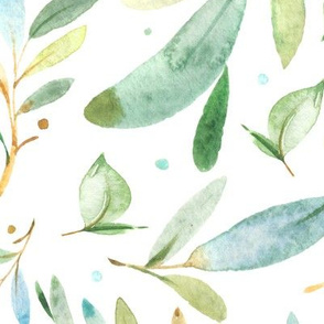 Watercolor Leaves & Branches in Greens and Blues, SCALE A