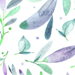 Watercolor Leaves & Branches in Greens, Teals, Purples and Blues, SCALE A