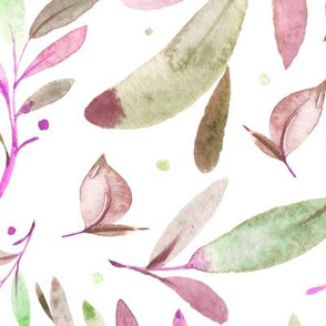 Watercolor Leaves & Branches in Greens, Pinks and Purples, SCALE A