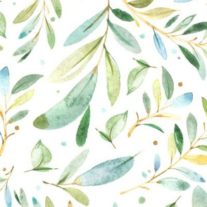Watercolor Leaves & Branches in Greens and Blues, SCALE B