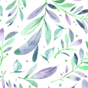 Watercolor Leaves & Branches in Greens, Teals, Purples and Blues, SCALE B