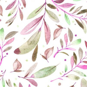 Watercolor Leaves & Branches in Greens, Purples and Pinks, SCALE B