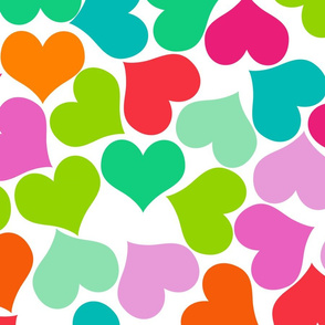 Big Colorful Valentines Hearts on White