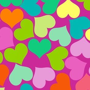 Big Colourful Hearts on Purple