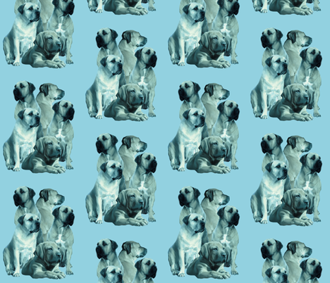 mastiff family in blue fabric by dogdaze_ on Spoonflower - custom fabric