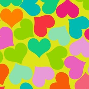 Big Colorful Valentines Hearts on Green