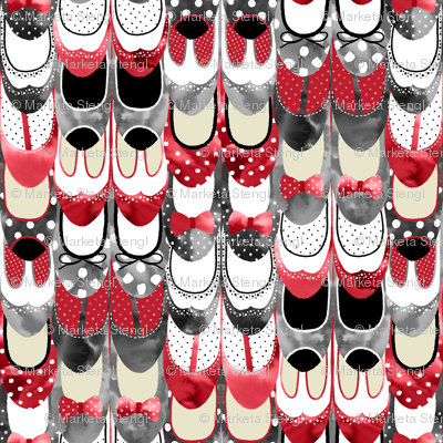 Rockabilly Shoes - Red and Black and Polka Dots