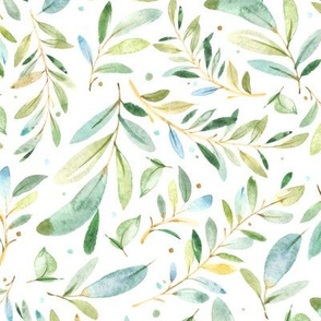 Watercolor Leaves & Branches in Greens and Blues, SCALE C
