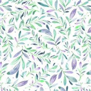 Watercolor Leaves & Branches in Greens, Teals, Purples and Blue, SCALE D