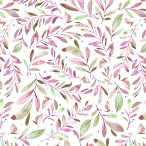 Watercolor Leaves & Branches in Greens, Purples and Pinks, SCALE D