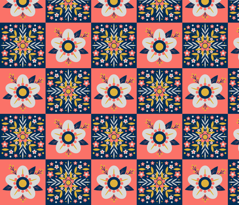 Coral Floral Tiles fabric by nikijin on Spoonflower - custom fabric