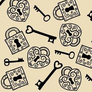 Unlock My Heart / vintage lock & key