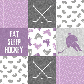 Eat Sleep Hockey - Ice Hockey Patchwork - Hockey Nursery - Wholecloth purple - LAD19