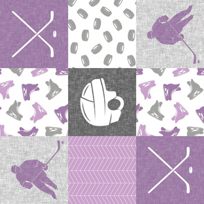 Ice Hockey Patchwork - Hockey Nursery - Wholecloth purple - LAD19 (90)