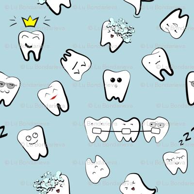 Teeth life dentist pattern wallpaper - milatoo - Spoonflower