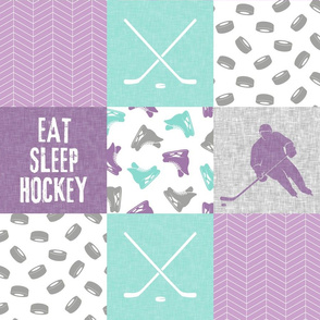 Eat Sleep Hockey - Ice Hockey Patchwork - Hockey Nursery - Wholecloth purple and teal - LAD19