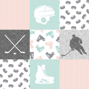 Ice Hockey Patchwork - Hockey Nursery - Wholecloth pink - LAD19