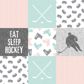 Eat Sleep Hockey - Ice Hockey Patchwork - Hockey Nursery - Wholecloth pink - LAD19