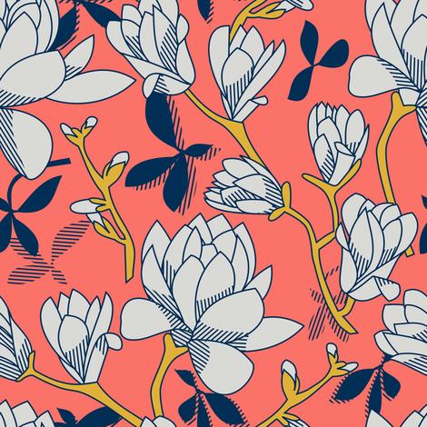 Coral Magnolias fabric by amy_maccready on Spoonflower - custom fabric