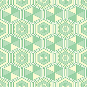 Green and yellow hexagons pattern