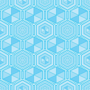 Blue hexagons pattern