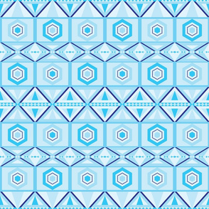 Blue geometrical tribal look pattern