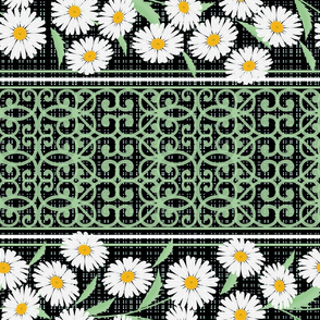 Daisies on black. Striped pattern.