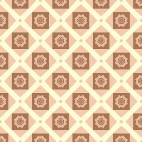 F-Coral Floral Checkerboard