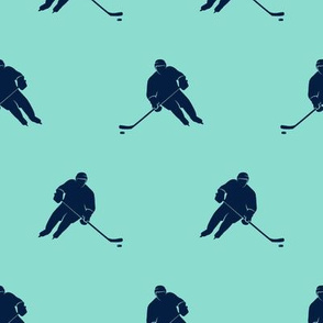 hockey player - navy on teal LAD19