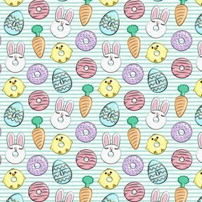 (micro scale) easter donuts - bunnies, chicks, carrots, eggs - easter fabric - aqua stripes LAD19BS