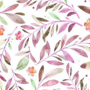 Watercolor Flowers & Branches in Greens, Purples and Pinks, SCALE B